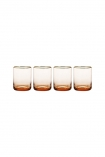 cutout image of Set Of 4 Rose Pink & Gold Water Glasses on white background