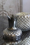 Close-up image of the Silver Glass Pineapple Trinket Storage Jar with the lid off