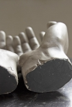 Image of the back of the wrists on the Distressed Effect Grey Giving Hands Ornament / Trinket Dish