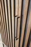 Close-up image of the handles on the Timber Strips Shelved Storage Cabinet