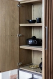 Close-up image of the Timber Strips Shelved Storage Cabinet with doors open
