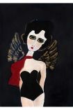 cutout image of Unframed Angel Art Print By Rebecca Sophie Leigh white girl with angel wings and black hair wearing black leotard and red scarf on dark background on white background