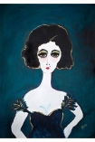 cutout image of Unframed Ella Art Print By Rebecca Sophie Leigh white girl with black hair and dark blue dress on blue background on white background