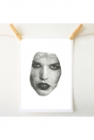 lifestyle image of Unframed Masked 2 VII Art Print By Amber Devetta woman's face on white background with wooden pegs and pale wall background