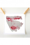 lifestyle image of Unframed Masks V Art Print By Amber Devetta pink distressed woman's face hung with wooden pegs on string