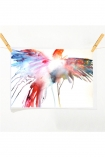 lifestyle image of Unframed Soaring Parrot Art Print By Emma Kaufmann - 2 Sizes Available with wooden pegs and pale wall background