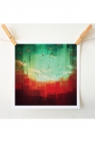 square lifestyle image of Unframed Summer City Art Print By DejaReve blue green and red toned print with wooden pegs and pale wall background