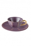 cutout image of Vintage Style Tea Cup & Saucer - Purple on white background