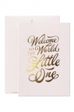 cutout image of Welcome to the World Little One Greeting Card - Pink with envelope on white background