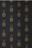 detail image of Barneby Gates Pineapple Wallpaper - Charcoal - SAMPLE gold toned pineapples on black background repeated pattern