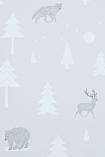 detail image of Hibou Home Into The Wild Children's Wallpaper - Stone/Arctic White HH00601 - ROLL arctic animals and trees on pale background
