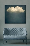 lifestyle image of Cloud Play I by JR Goodwin - Canvas hung on grey wall above grey sofa