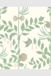 detail image of Cole & Son Whimsical Collection - Secret Garden Wallpaper - Light Green 103/9031 - SAMPLE light green leaves and branches and grey shells on pale background