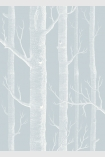 detail image of Cole & Son Whimsical Collection - Woods Wallpaper - Pale Blue 103/5022 - SAMPLE pale tree trunks on pale blue background