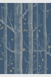 detail image of Cole & Son Whimsical Collection - Colour Woods & Stars Wallpaper - Midnight 103/11052 - SAMPLE white tree trunks and small gold stars on dark blue background