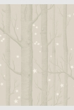 detail image of Cole & Son Whimsical Collection - Natural Woods & Stars Wallpaper - Grey 103/11048 - SAMPLE darker tree trunks and small white stars on nude background
