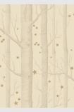 detail image of Cole & Son Whimsical Collection - Natural Woods & Stars Wallpaper - Buff & Gold 103/11049 - SAMPLE nude tree trunks and small gold stars on pale yellow background