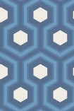 detail image of Cole & Son Contemporary Restyled - Hicks' Grand Wallpaper - Blue 95/6035 - ROLL honeycomb hexagon geometric repeated pattern