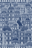 detail image of Mind The Gap Wallpaper Collection - Louvre - Bluecrowded architecture repeated pattern