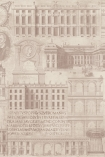 detail image of Mind The Gap Wallpaper Collection - Vitruvius - Taupe taupe coloured historical design on cream background