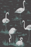 detail image of Cole & Son Contemporary Restyled - Flamingos Wallpaper - White on Coal 95/8048 - ROLL white flamingos and green plants on dark background