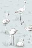 detail image of Cole & Son Contemporary Restyled - Flamingos Wallpaper - White on Lilac 95/8047 - SAMPLE white flamingos and plants on pale blue background