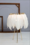Feather Table Lamps In White on pale background and wooden detail in background lifestyle image