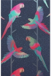 detail image of Matthew Williamson Arini Wallpaper - Ink/Cerise/Jade W6806-02 - SAMPLE colourful parrots on branches on dark blue background