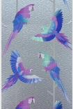 detail image of Matthew Williamson Arini Wallpaper - Silver/Purple/Persian Blue W6806-03 - SAMPLE purple blue and green parrots on branches repeated pattern on silver background