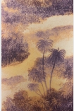 detail image of Matthew Williamson Cocos Wallpaper - Sunset W6652-01 - SAMPLE purple trees and clouds on rust toned background