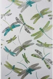 detail image of pattern of Matthew Williamson Dragonfly Dance Wallpaper - Jade/Kiwi W6650-01 - ROLL green and blue toned dragonflies on pale grey background
