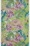 detail image of Matthew Williamson Flamingo Club Wallpaper - Metallic Lavender/Ivory/Electric Blue W6800-05 - SAMPLE pink flamingos and tropical plants on green background