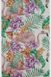 detail image of Matthew Williamson Flamingo Club Wallpaper - Ivory/Fuchsia/Coral W6800-03 - SAMPLE pink flamingos and colourful tropical plants repeated pattern on ivory background