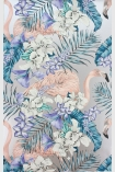 detail image of Matthew Williamson Flamingo Club Wallpaper - Jade/Lavender/Coral W6800-01 - SAMPLE pink flamingod and blue toned tropical plants on silver background