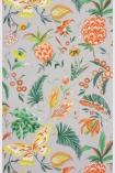 detail image of Matthew Williamson Habanera Wallpaper - French Grey/Orange/Lemon W6803-02 - SAMPLE tropical pattern on grey background