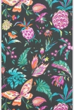 detail image of Matthew Williamson Habanera Wallpaper - Cacao/Fuchsia/Bright Orange W6803-04 - SAMPLE colourful pineapple, butterfly and plants on black background