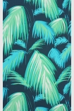 detail image of Matthew Williamson Tropicana Wallpaper - Petrol/Emerald/Turquoise W6801-01 - ROLL green palm leaves repeated pattern on blue background
