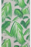 detail image of Matthew Williamson Tropicana Wallpaper - Grass/Pebble W6801-02 - ROLL green palm leaves repeated pattern on grey background