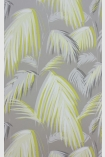 detail image of Matthew Williamson Tropicana Wallpaper - Metallic Silver/Lemon W6801-03 - SAMPLE light green palm leaves repeated pattern on grey background