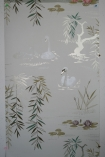 detail image of Nina Campbell Swan Lake Wallpaper - Pale Grey NCW4020-03 - ROLL white swans and plants on grey background