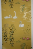 detail image of Nina Campbell Swan Lake Wallpaper - Mustard NCW4020-05 - ROLL white swans and green plants on mustard yellow background