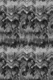 cutout image of 17 Patterns Brushed Herringbone Wallpaper - Black - SAMPLE black and grey smudged repeated pattern