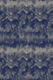 cutout image of 17 Patterns Brushed Herringbone Wallpaper - Blue - SAMPLE dark blue and grey smudged repeated pattern