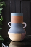 Image showing one side colouring of the Large Abstract Art Terracotta Vase With Small Handles