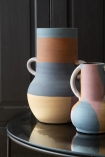 Image of the Set Of 2 Abstract Art Terracotta Vases With Handles - Small & Large