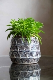 Image of the Small Aztec Stoneware Flower Pot