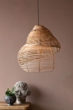 Image of the Medium Beautiful Spiral Shell Shaped Rattan Ceiling Light