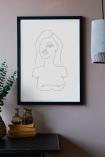 Lifestyle image of the Framed White Self Portrait Art Print