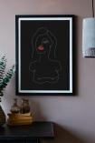 Lifestyle image of the Framed Black Self Portrait Art Print
