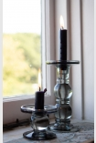 Image of the Set Of 2 Grey Smoked Glass Traditional Style Candle Stick Holder